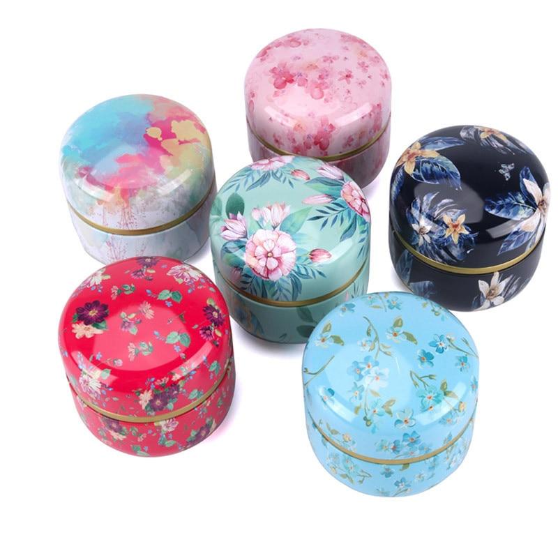 Contenedores de té redondos de Metal de estilo japonés, caja de té de hojalata, Mini tarro de té, café en polvo, Matcha, cajas de almacenamiento de dulces y galletas, latas de té