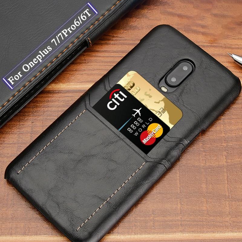 Funda protectora de cuero de lujo para Oneplus 6 6t 7 funda trasera dura de protección delgada anticaída con 2 ranuras para tarjetas