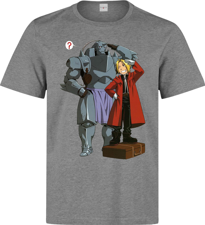 Fullmetal Alchemist ED y Alphonse Anime Manga hombres gris camiseta top Cool Casual pride camiseta hombres Unisex la camiseta de la moda