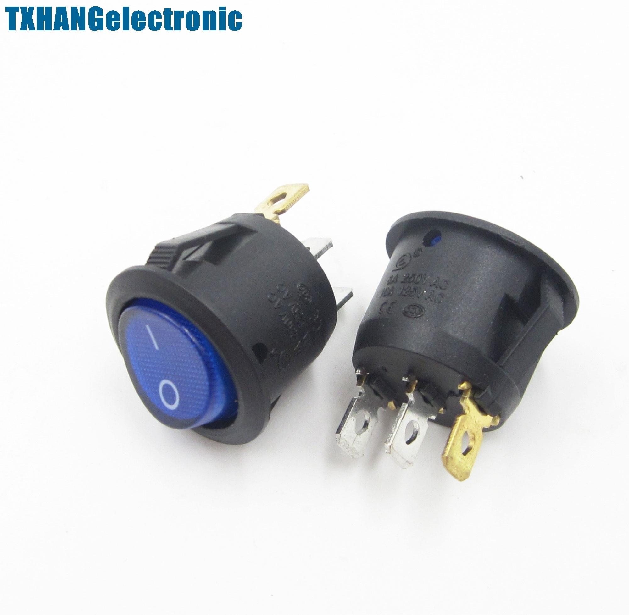 5 uds Mini 3 Pin redondo SPDT en-interruptor basculante Snap-en azul