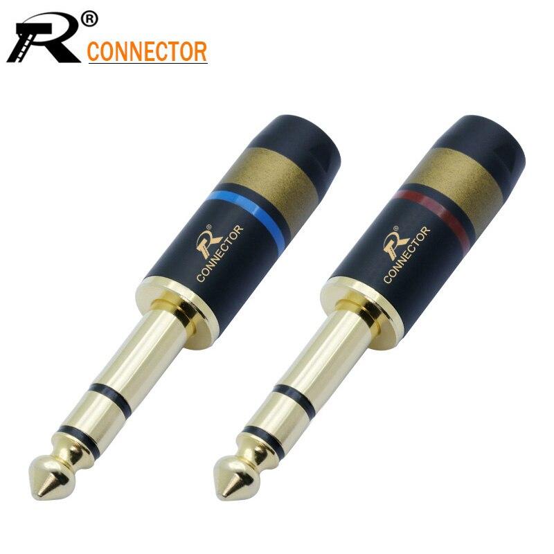 1 par/2 uds. 6,35 conector de 3 polos, Conector de altavoz chapado en oro, conector de Audio de 6,35mm, conjunto de micrófono, conector de cable