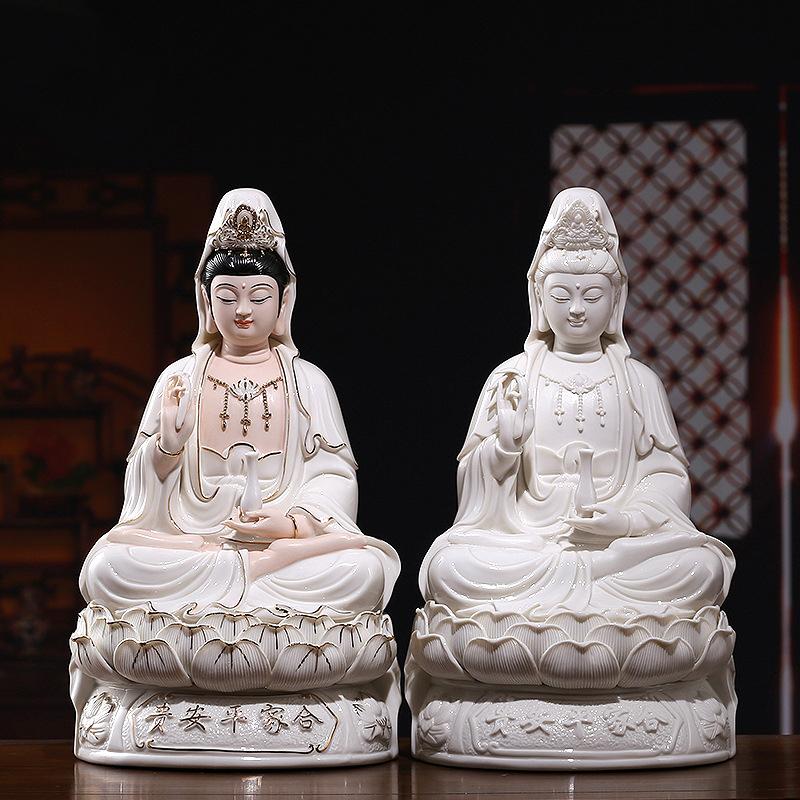 Decorativo Bodhisattva Guanyin Escultura Deusa da Misericórdia de Buda Estátuas de Porcelana Branca de Cerâmica Decoração de Casa Estilo Budismo