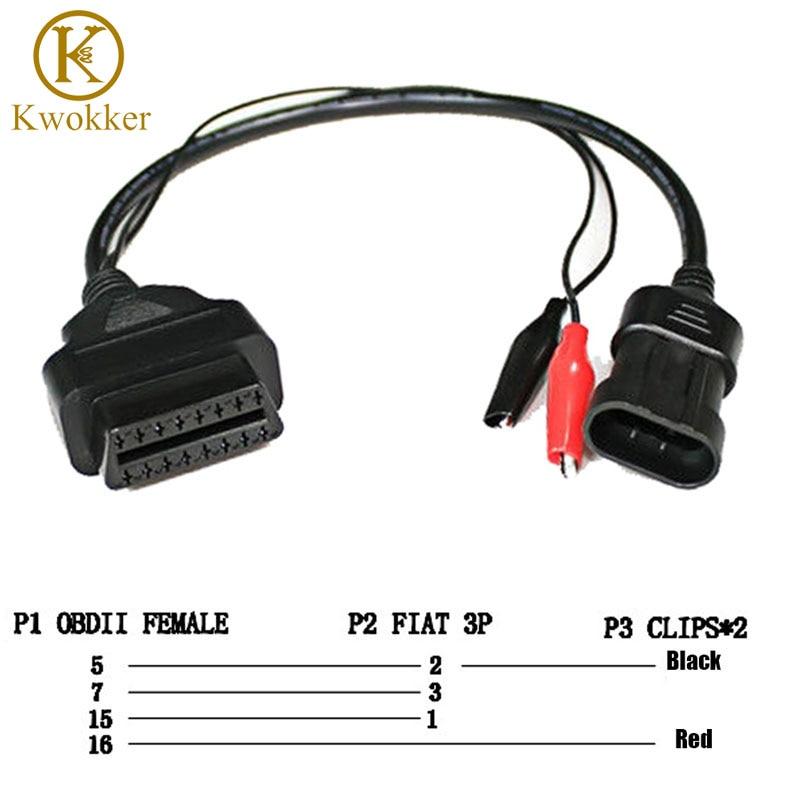 KWOKKER OBD 2 para Fiat Alfa Lancia 3 pines a OBD 2 adaptador de diagnóstico conector Cable de extensión 16 Pin hembra de buena calidad