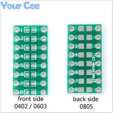 20 pièces SMT DIP adaptateur convertisseur 0805 0603 0402 condensateur résistance LED Pinboard FR4 PCB Board 2.54mm pas SMD SMT tour à DIP