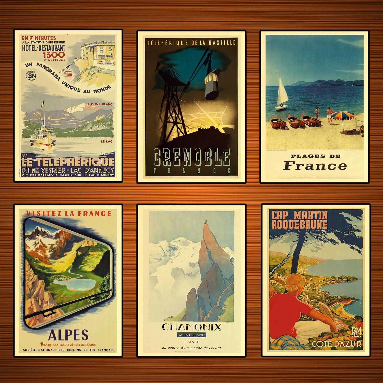 Carteles de turismo franceses Chamonix Mont Blanc 1972 pegatinas de pared clásicas lienzo póster vintage de pintura decoración de Bar para el hogar regalo