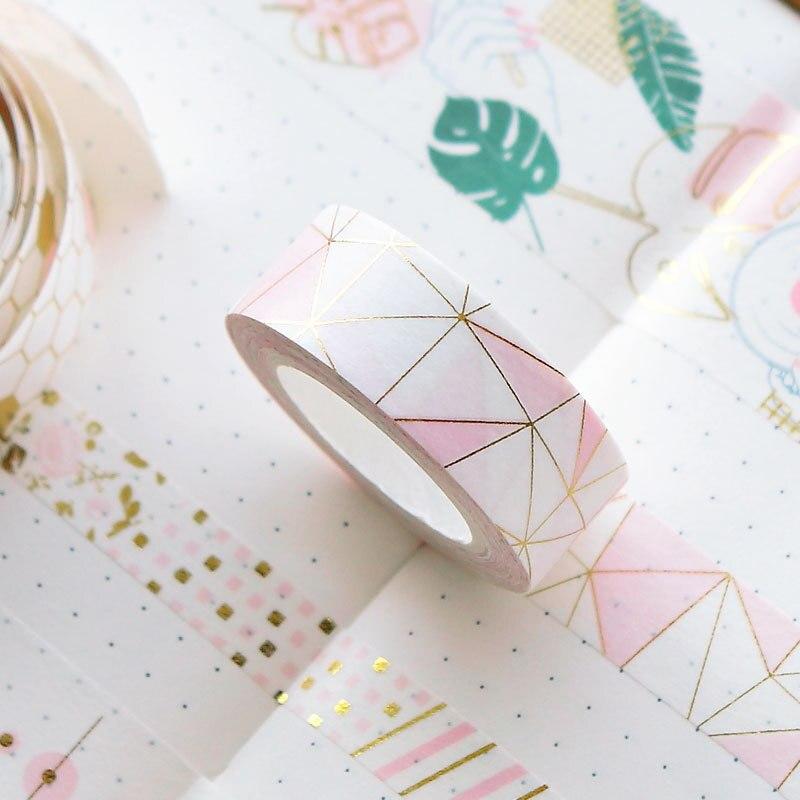 Lote de 6 unidades de cintas de papel rosa dorado Washi, cintas decorativas de papel para álbum de fotos, decoración del hogar, regalos DIY