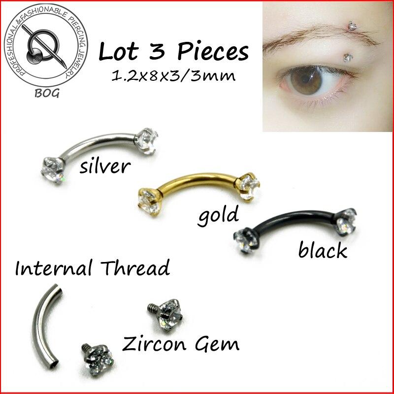 BOG-Lot 3 piezas 316L Acero inoxidable 16g circón CZ gema curva ceja oreja cartílago Helix Piercing anillo joyería de cuerpo oro negro