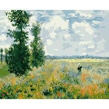 Mohn Monet Garten Landschaft DIY Malerei Durch Zahlen Wand Kunst Bild Acryl Leinwand Malerei Für Home Dekoration Drop Verschiffen