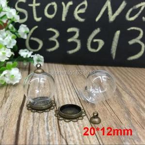 Free ship! 100sets/lot bronze color 20*12mm glass globe & lace base & 6mm cap set glass globe set glass vial pendant glass cover