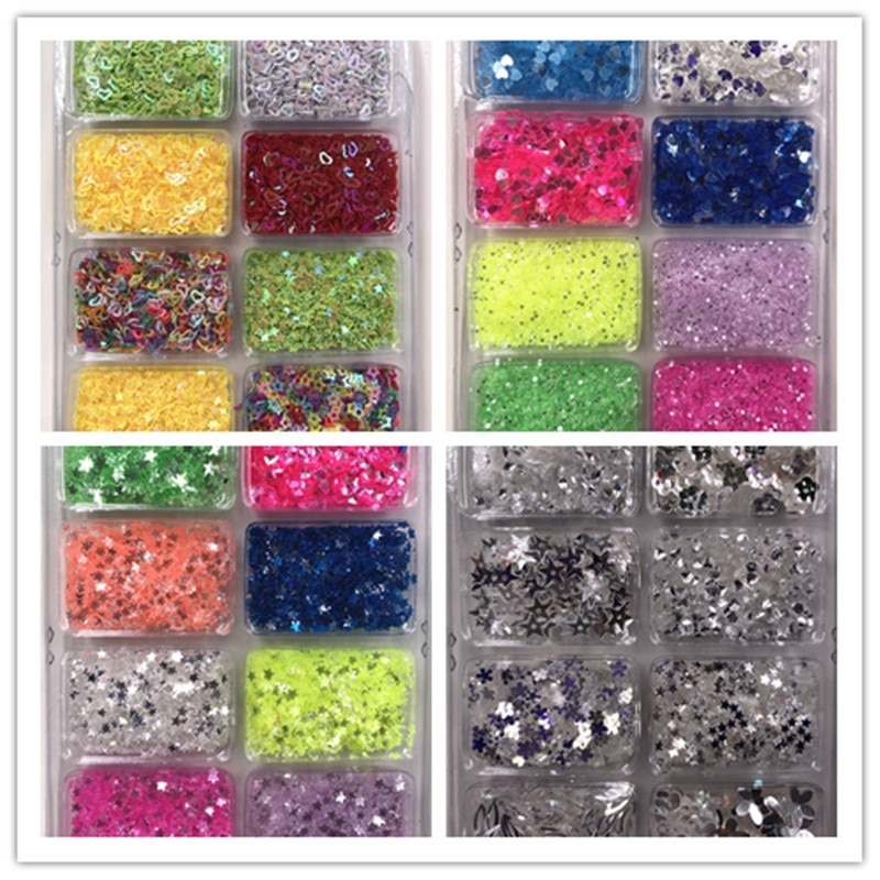 multiple 8 Color loose sequins sets  Paillette Nail  Art Manual DIY Craft For Garment sewing ,paper cards ,Scrapbook Diy Design