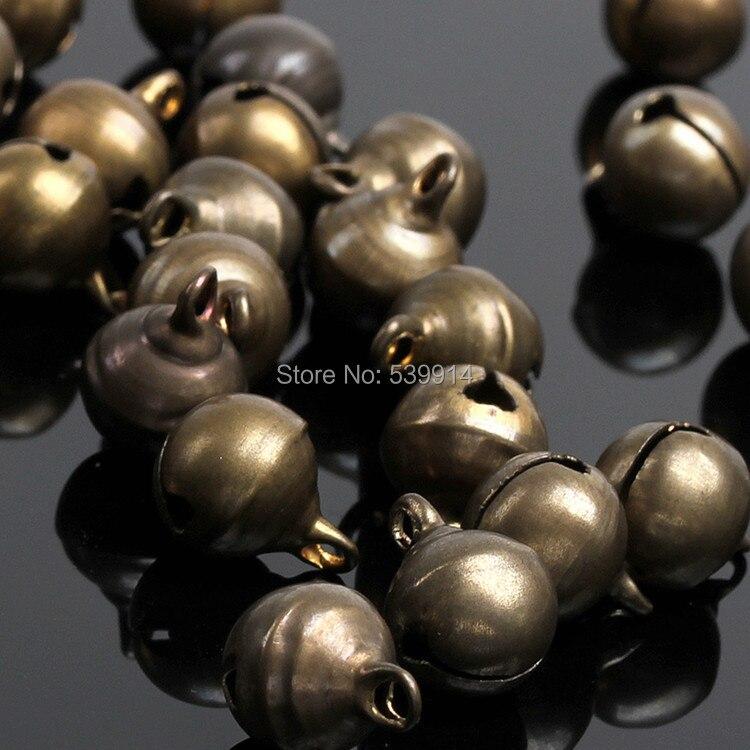 6mm 8mm 10mm Color bronce Jingle Bell pequeñas campanas cobre cuentas sueltas Fit Festival joyería colgantes encanto cuentas