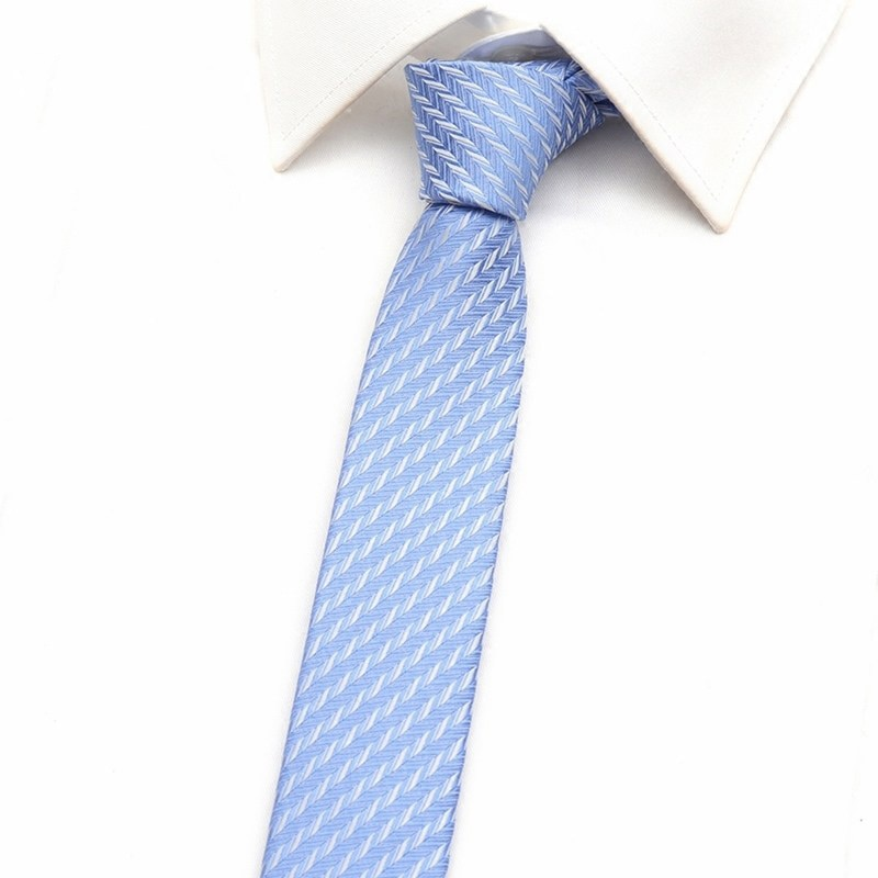 NEW Fashion 5CM Slim Ties for Men Business Casual Sky Blue Striped Necktie Formal Business Suits Gravata Cravates with Gift Box