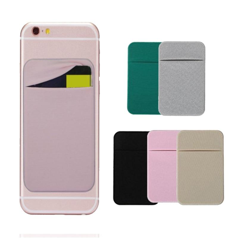 Adhesivo de bolsillo para tarjeta de crédito funda cartuchera Color sólido para teléfono móvil HJ55
