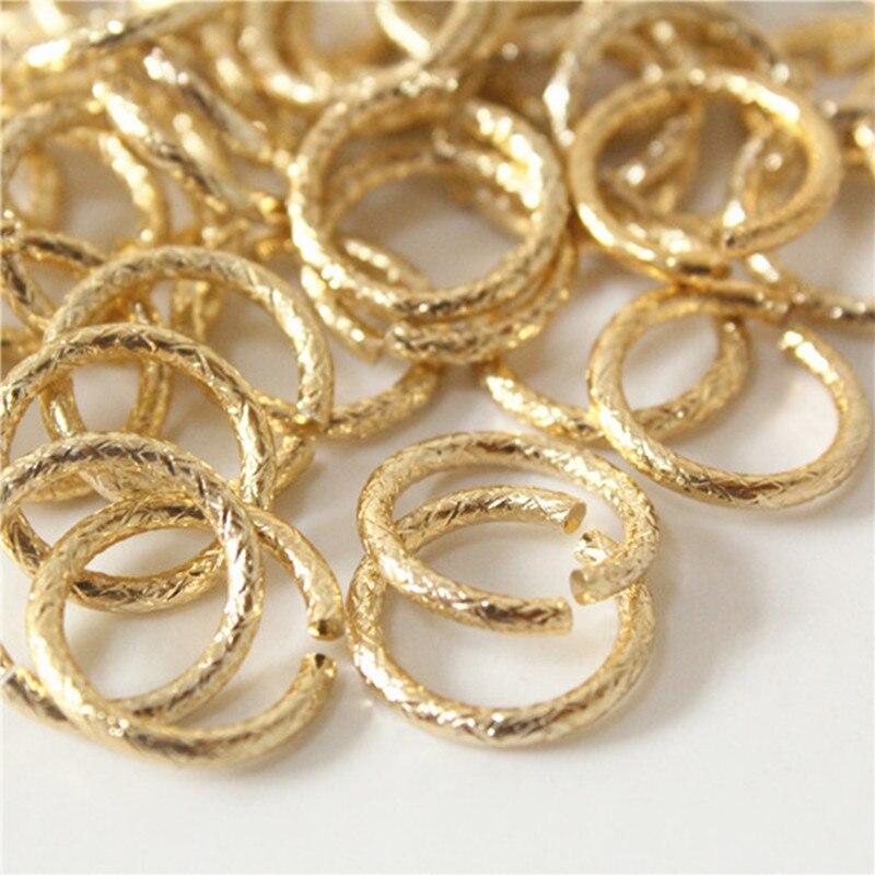 Anillos de salto abierto de oro con patrón de 40 uds, 15mm, diámetro del cable. Hallazgos De Joyería de 1,8mm Anti-deslustre p126