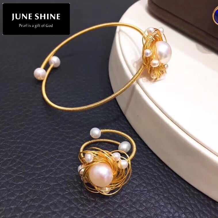 [Água doce pérola pulseira e anel conjunto de jóias] branco pérolas liga chapeado 14 k ouro para o casamento feminino jóias natal js003