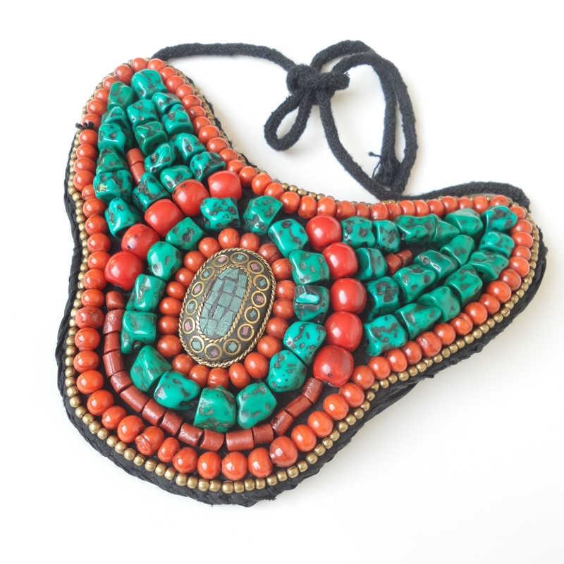 Tnl168 tibetano colar de moda grande declaração pingente colar nepal colorido frisado costurado pingentes incrível 2017 novo