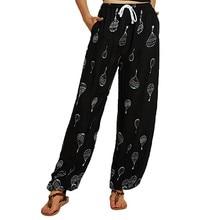 Été grande taille 2XL imprimer lâche Harem pantalon femmes mi-taille décontracté Floral Boho pantalon pleine longueur pantalon survêtement mode pantalon N4