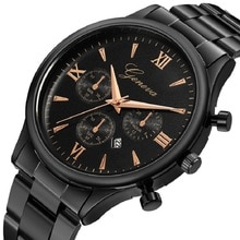 Mens Top Brand Watches Geneva Military Sport Watch Stainless Steel Men Date Quartz Analog Clock Luxury relogio masculino