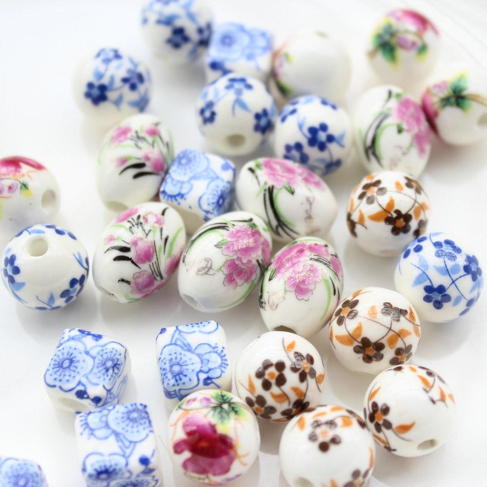 "150 stks van 10mm-16mm mix kleur bloemen verf Chinese Blossom ""Porselein keramische Kralen ovale, vierkante, ronde"