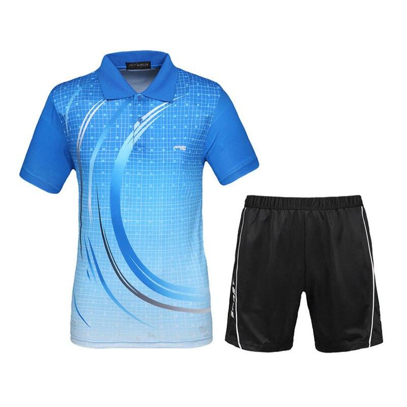 الرجال القمصان مجموعات تنس 2017 تصميم جديد الرياضة تناسب السراويل مع الفانيلة الريشة الرياضية تنفس سريعة جاف