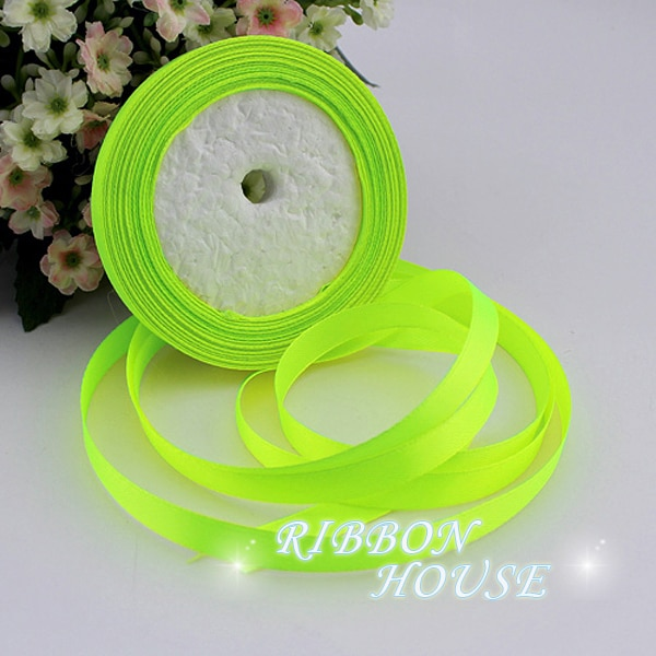 "(25 yards/roll) 3/8""(10mm) Fluorescent Green Single Face Satin Ribbon Webbing Decoration Gift Christmas Ribbons"