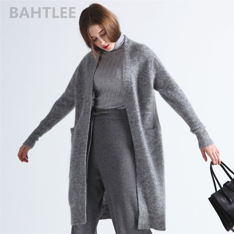 Bahtlee primavera outono feminino mohair cardigan camisola misturada malha sólida mangas compridas lã casaco casual preguiçoso estilo