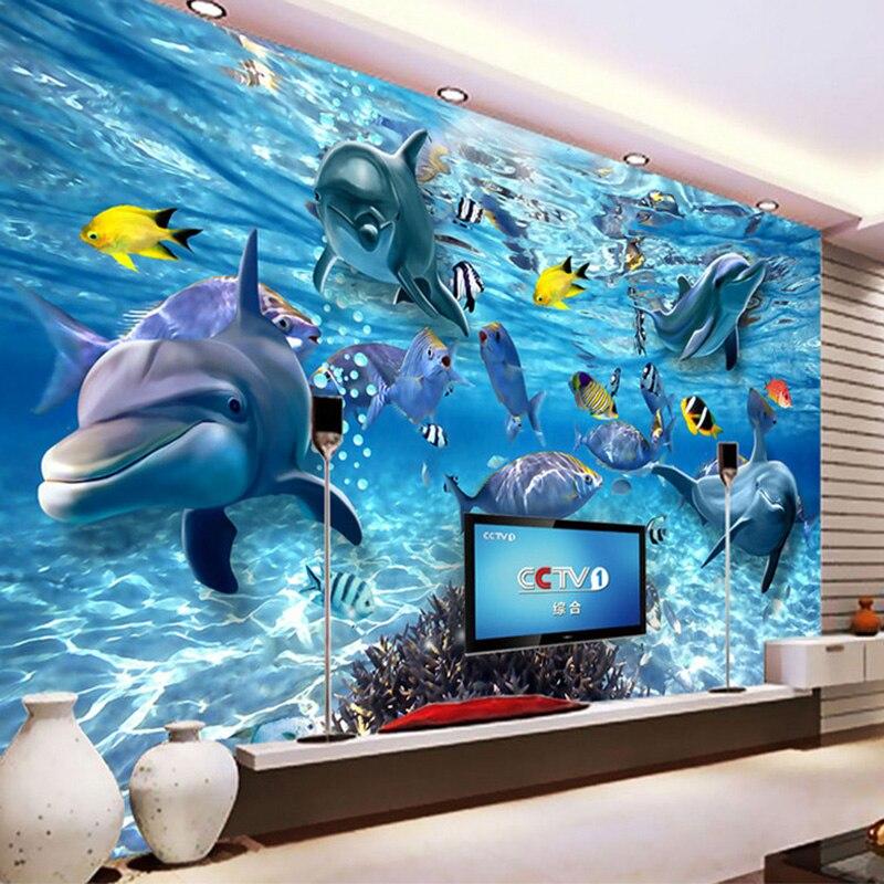 Пользовательские 3D фото обои подводный мир дельфин рыба детская комната Спальня Гостиная ТВ украшение Настенная Обои