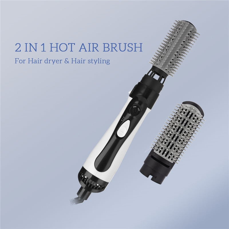 Plancha de pelo eléctrica 2 en 1, secador de pelo con aire caliente, rizador de pelo intercambiable, peine alisado, peine calentado, cuidado del cabello 31
