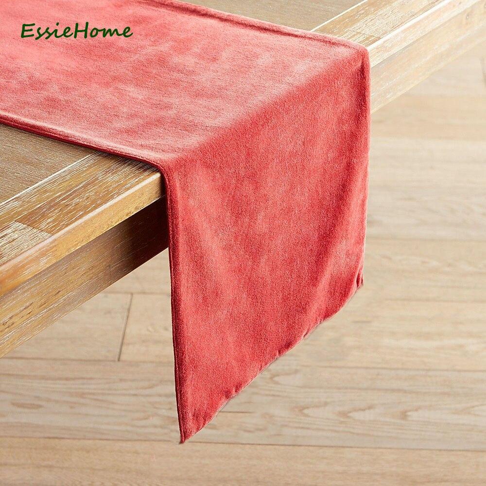 ESSIE HOME-مفرش طاولة مخملي غير لامع ، مفرش طاولة ، مزدوج الجوانب