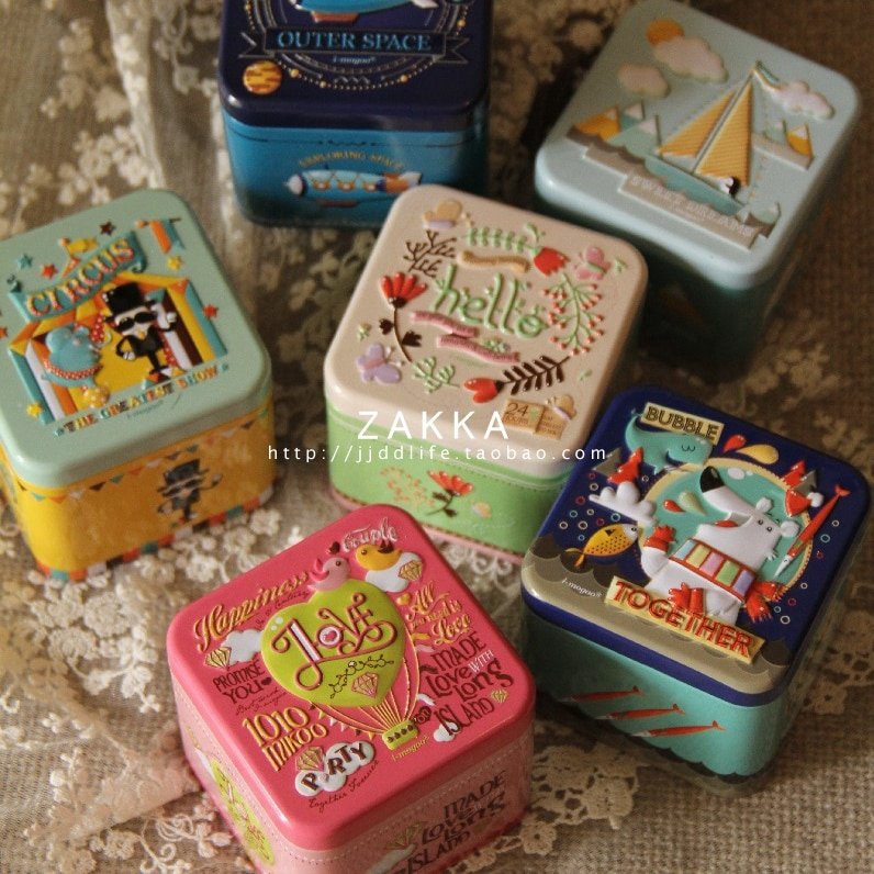 Купить с кэшбэком Exquisite 3D Cartoon Tin Box Biscuit /Tea leaf Sundries Container Case Metal Customizable Wholesale Child Gift Box Square