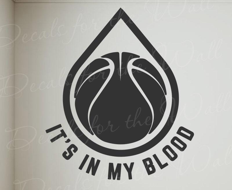 Adhesivos de pared con frases vinilo en mi sangre deporte del baloncesto escuela de gimnasia equipo NBA