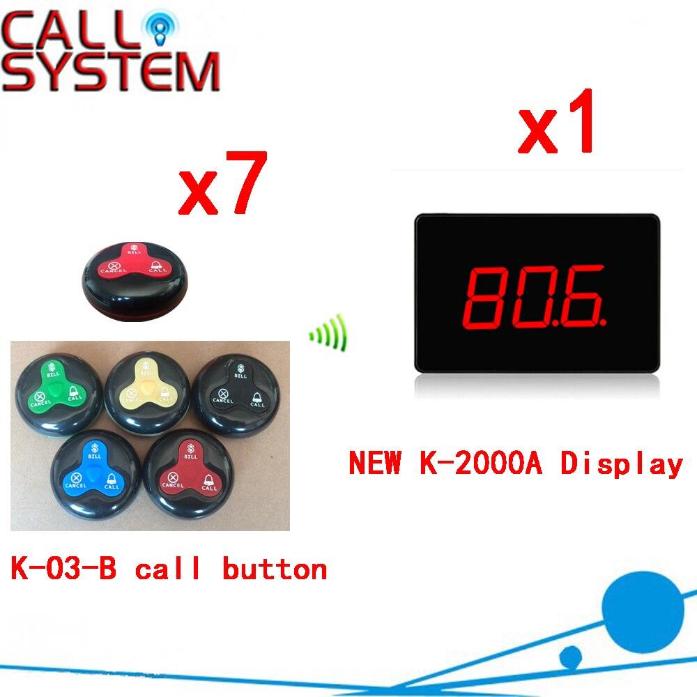 Sistema de llamadas inalámbrico nuevo caliente 100% localizador resistente al agua de servicio de restaurante camarero llamando a todo el equipo (1 PANTALLA + 7 botón de llamada)