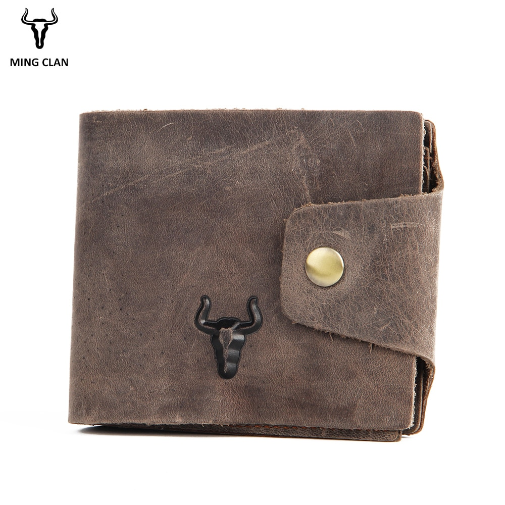 Mingclan Crazy Horse Genuine Leather Wallet Men SIM Phone SD Card Holder Male Vintage Travel Purses Clutch Handbag RFid