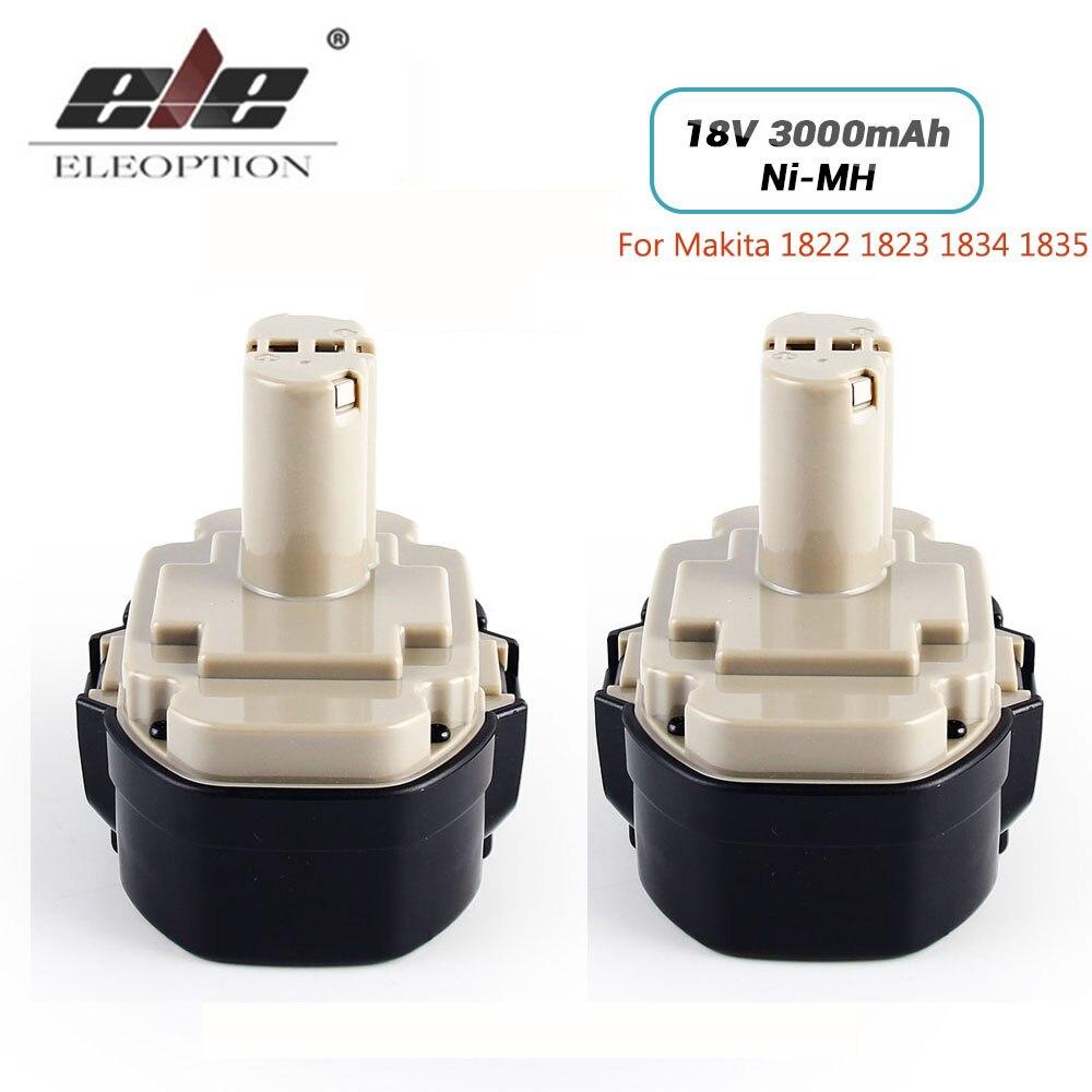 ELEOPTION 2 Pack/lot 18 V 3000 mAh Ni-MH Batterie De Remplacement pour Makita 18 V 1822 1823 1834 1835 192827-3 192829-9 193159-1