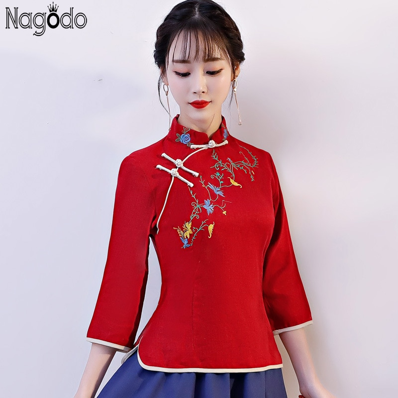Nagodo-قميص شيونغسام للنساء ، ملابس عرقية ، على الطراز الصيني ، بلوزة كتان ، بلوزة اليوسفي ، أكمام واسعة ، شيونغسام ، هانفو ، 2018