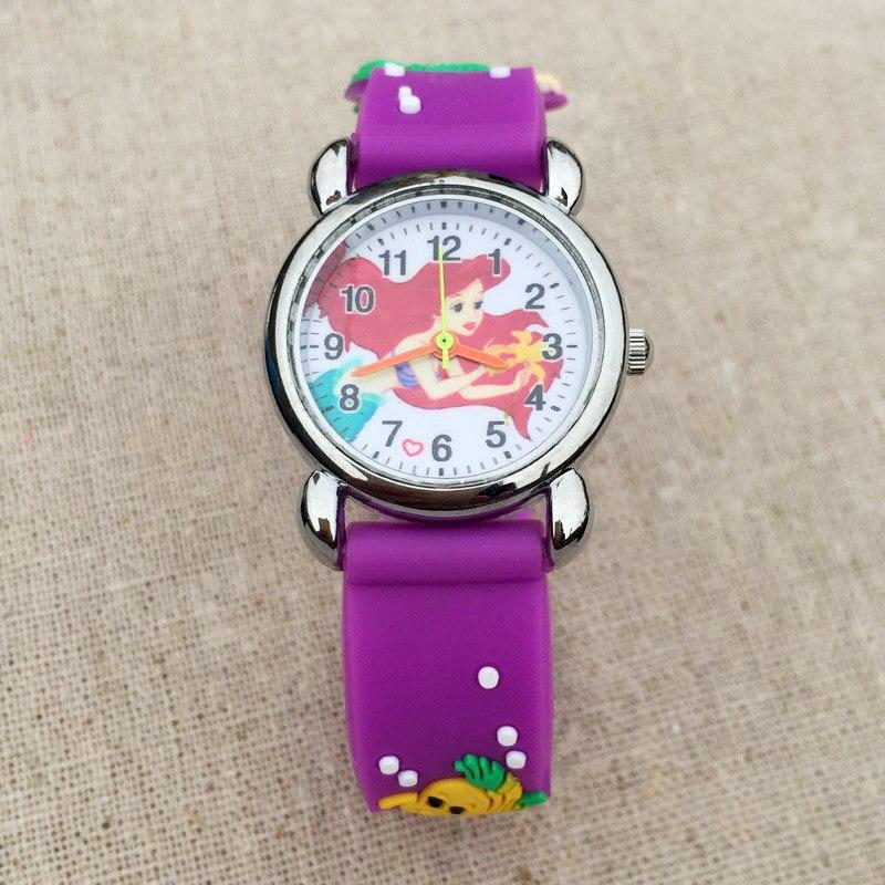 Cartoon Cute Mermaid style Childrens Watches Kids Students girls Quartz 3D Silicone strap Wrist Watch 03