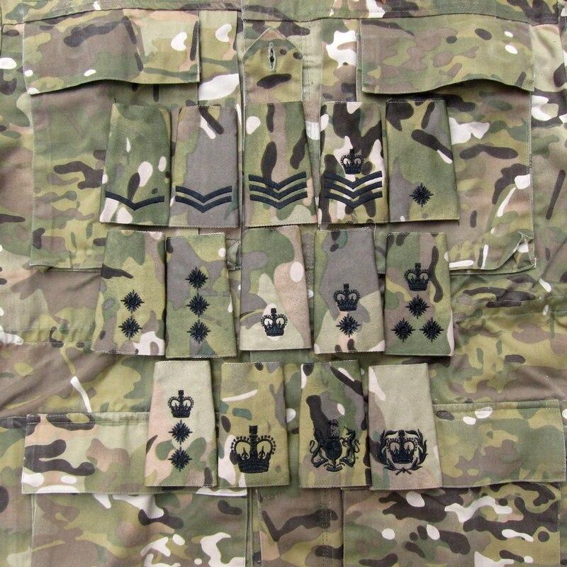 Parche ejército británico bordado Multicam MTP negro Rank Slides Morale Military Tactics