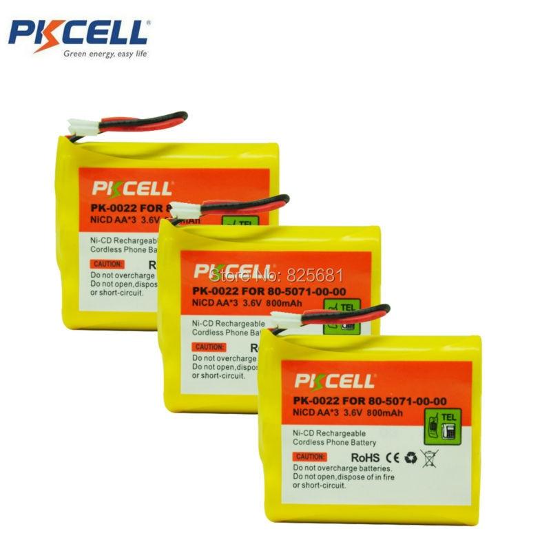 3 упаковки 80-5071-00-00 AA 800mAh 3,6 V PK-0022 аккумуляторная NI-CD батарея для телефона с разъемом JST-HER-2P