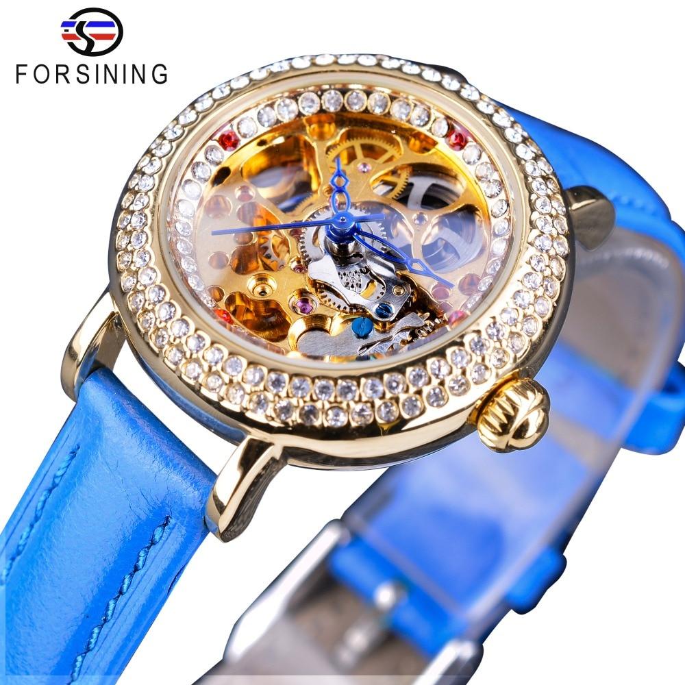 Reloj mecánico con mecanismo a la vista para mujer Forsining de moda azul diamante Flor de Oro movimiento transparente