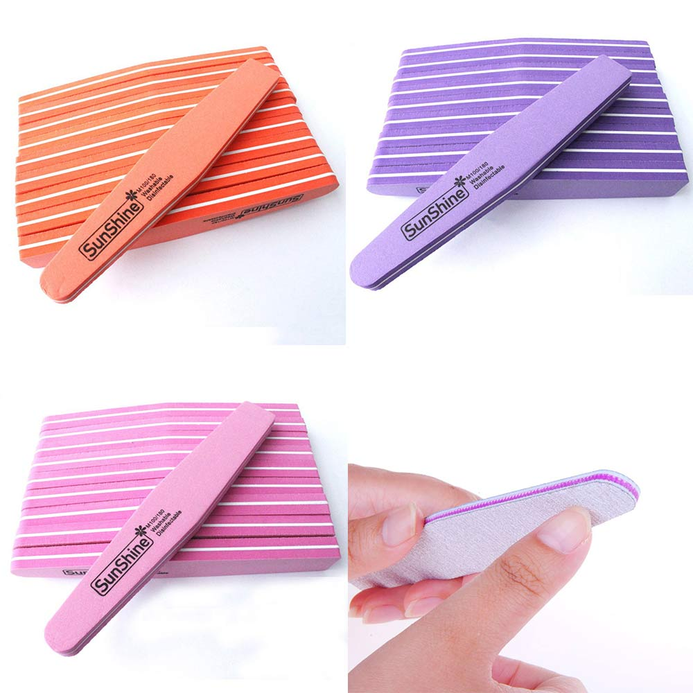 10 Uds lima de uñas esmeril 100/180 Lima pulidora herramientas de arte de uñas doble cara lavable Lima esponja
