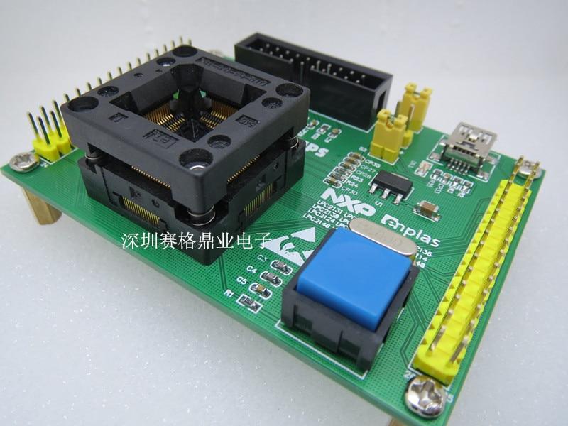 Original nxp ic assento de teste lpc2138 lpc2129 burning programm lpc2119 lpc2114 lqfp64 soquete adapte