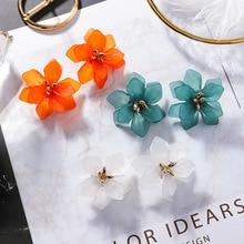 2019 New Statement Acrylic Big Flower Orange Blue Stud Earrings For Women Summer Sea Holiday Fashion Ear Accessories Brincos
