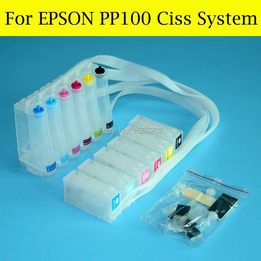 6 Color With PP-100 Chip Resetter For Epson PP50 PP100II PP-100II PP100AP PP100N PP-100N PP100 Ciss System