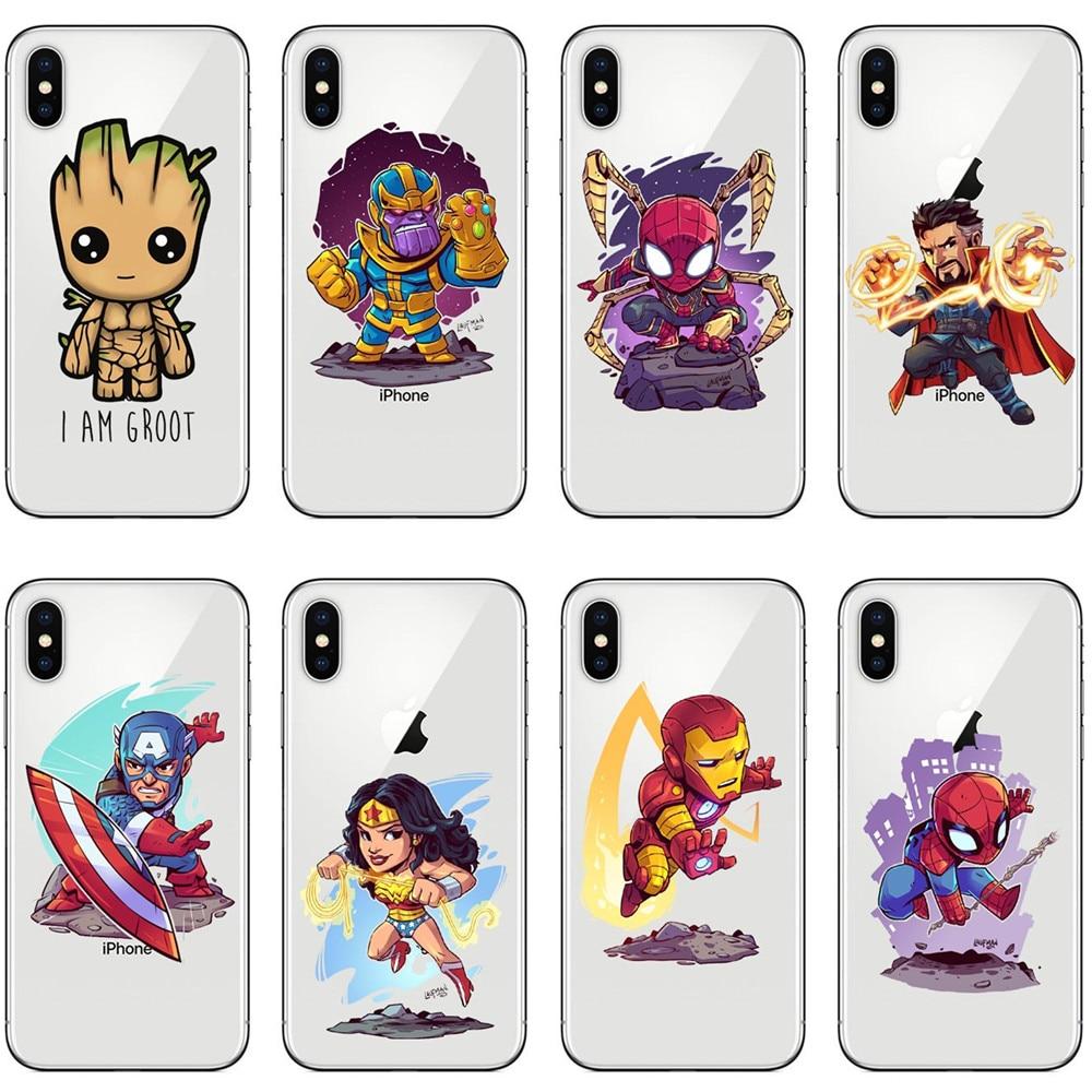 Marvel Avengers Infinity War Thanos Wonder woman SuperHero Clear Soft TPU Phone Cases For iPhone 7 8Plus 6 6SPlus X 5 5s SE