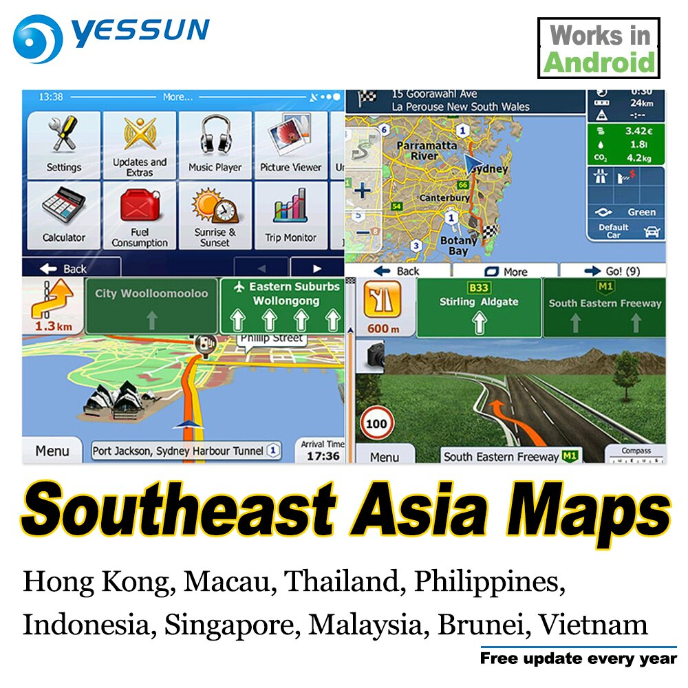 Tarjeta SD de 8 GB, mapas de navegación GPS, tarjeta Android para el Sudeste de Asia, Tailandia, Filipinas, Indonesia, Singapur, Malasia, Vietnam