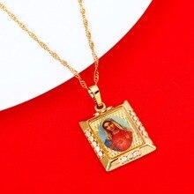 Vierge marie collier marie conçu sans péché prier pendentif lumière couleur or catholique église bijoux pour les femmes