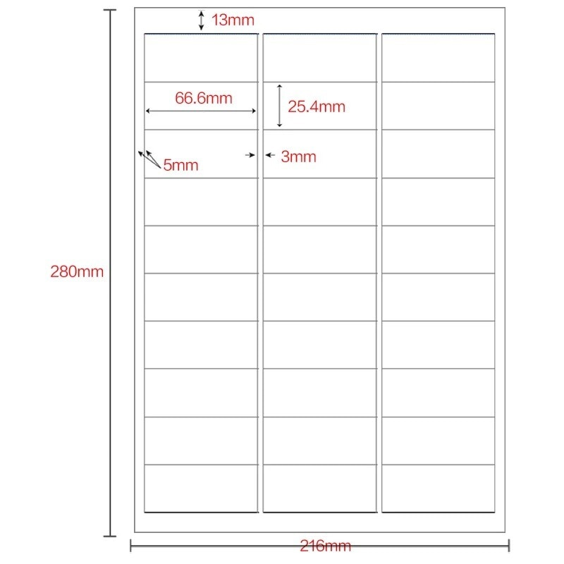 GL-33L 100 sheets white label Sticker 30-up 3000pcs  66.6mm*25.4mm on Letter size Sticker Self Adhesive Label 3x10