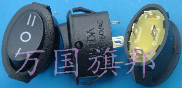 Free shipping.3 250 v black boat switch, three or four oval