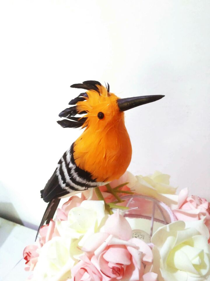 creative simulation Hoopoe bird model toy foam&feathers orange bird doll gift about 30cm 2873