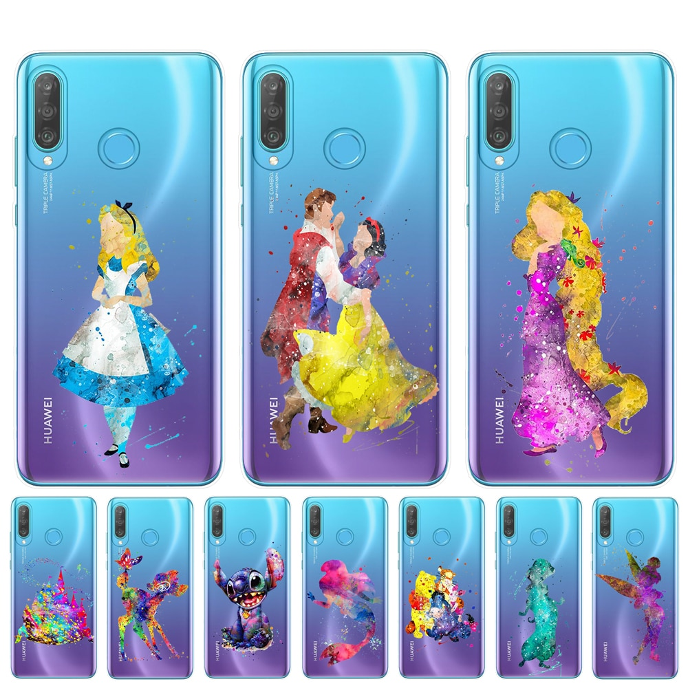 Funda de teléfono acuarela Alicia Tinkerbell Stitch sirena Princesa para Coque Huawei P30 P20 Lite P10 P9 P8 Lite 2017